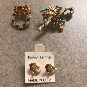 Vintage Christmas Earring & Pin Jewelry Set